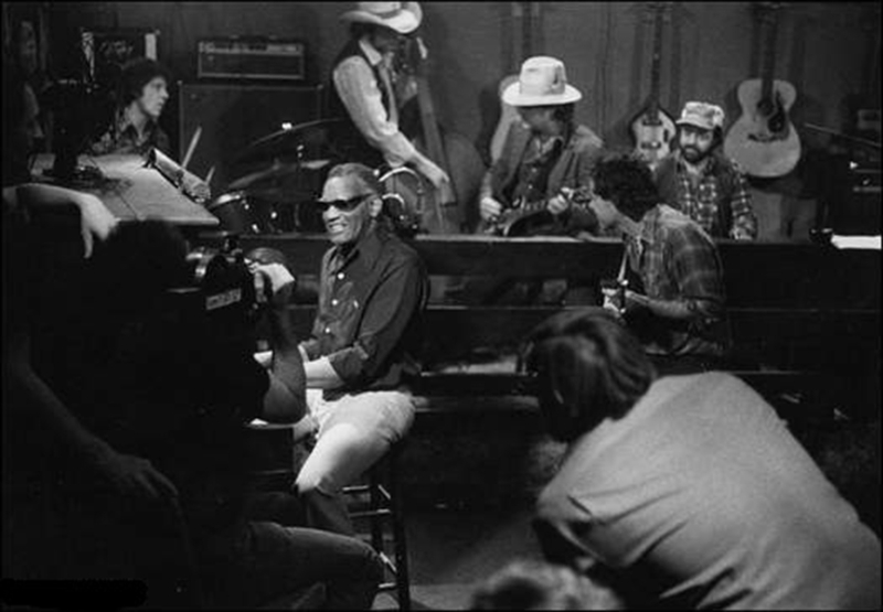 Jamming on set of Ray Charles video shoot